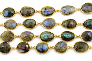 Labradorite Oval Faceted Bezel Chain, (BC-LAB-174) - Beadspoint