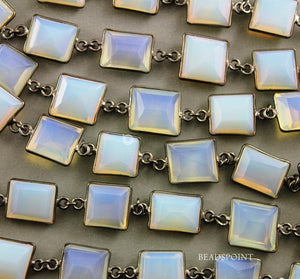 Opalite Faceted Fancy Cut Bezel Chain, (BC-OPL-140) - Beadspoint