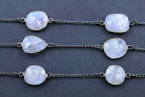 Rainbow Moonstone Faceted Oval Connector Bezel Chain, (BC-RNB-159) - Beadspoint