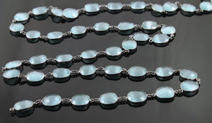 Teal Blue Oval Faceted Bezel Chain, (BC-TBL-08) - Beadspoint