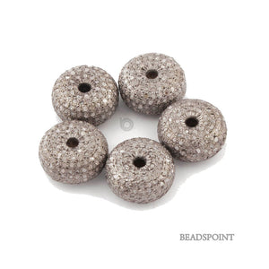 Pave Diamond Rondelles Beads (DB-86) - Beadspoint