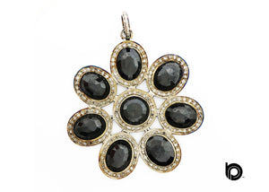 Pave Diamond Black Onyx Flower  Pendant, (DBX-7043)