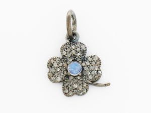 Pave Diamond Flower w/ Moonstone Charm, (DCH-16) - Beadspoint