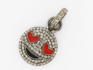 Pave Diamond Smiley Charm, (DCH-40) - Beadspoint