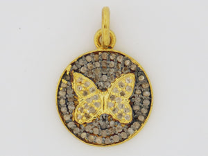 Pave Diamond Two Tone Butterfly Charm, (DCH-41) - Beadspoint