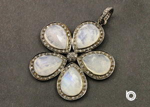Pave Diamond Rainbow Moonstone Flower Pendant -- DP-1350