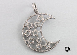 Pave Diamond Moon and Star Celestial Pendant -- DP-1454