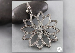 Pave Diamond Lotus Pendant -- DP-1714