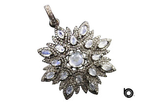 Pave Diamond Rainbow Moonstone Pendant -- DP-1750