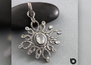 Pave Diamond & Rainbow Moonstone Flower Pendant, (DP-1780)