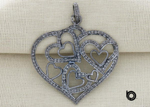 Pave Diamond Heart Pendant 3 Finishes -- DP-2079