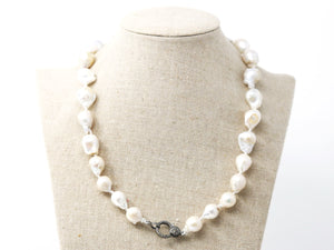 Large Baroque Pearl Silk Hand Knotted Necklace w/ Pave Diamond Clasp , (DCHN-26) - Beadspoint