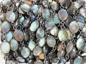 Labradorite Oval Faceted Bezel Chain, (BC-LAB-268) - Beadspoint
