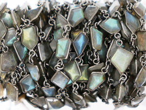Labradorite Fancy Faceted Bezel Chain, (BC-LAB-271) - Beadspoint
