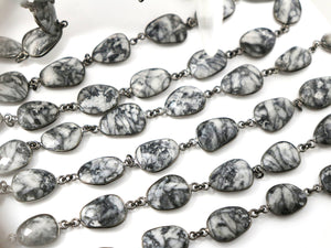 Jasper Oval Faceted Bezel Chain, (BC-JAS-248) - Beadspoint