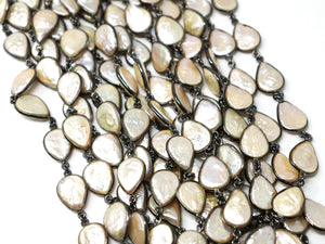 Pearl Pear Shape Bezel Chain, (BC-PRL-246) - Beadspoint