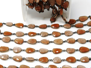 Brown Moonstone Oval Faceted  Bezel Chain, (BC-BMN-250) - Beadspoint