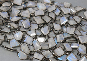 Rainbow Moonstone Fancy Faceted Bezel Chain, (BC-RNB-226) - Beadspoint