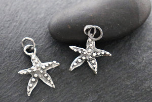 Sterling Silver Dotted Star Charm, (AF-92) (CRC) - Beadspoint