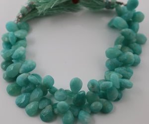 Amazonite Faceted Pear Drops (AMZ/PR/9X11) - Beadspoint