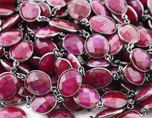 Ruby Faceted Oval Bezel Chain, (BC-RBY-254) - Beadspoint