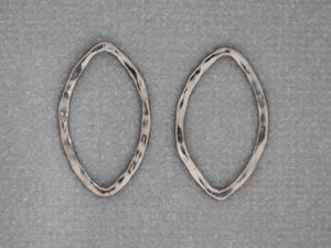 2 Pcs, Sterling Silver Hammered Marquise Links, (LC-03) - Beadspoint