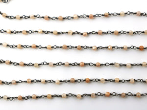 Peach Moonstone wire wrapped rosary chain (RS-PMN-235) - Beadspoint