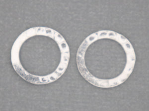 4 Pcs, Sterling Silver Hammered Circle link, (LC-10) - Beadspoint