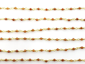 Carnelian wire wrapped rosary chain (RS-CAR-238) - Beadspoint