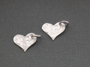 2 Pcs, Sterling Silver hammered heart tag charm, (LC-13) - Beadspoint
