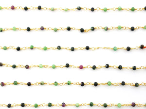 Multi Gemstone wire wrapped rosary chain (RS-MUL-241) - Beadspoint