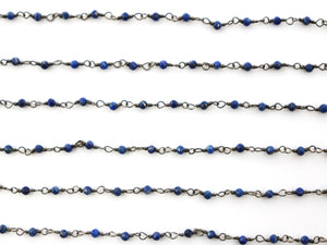 Lapis wire wrapped rosary chain (RS-LAP-243) - Beadspoint