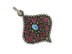 Pave Diamond Ruby and Opal Pendant, (DRB-7094) - Beadspoint