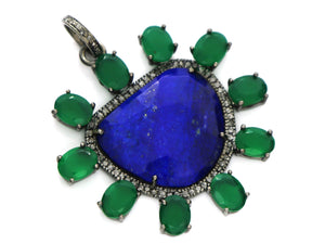 Pave Diamond Lapis Pendant with Emeralds, (DSS-7107) - Beadspoint