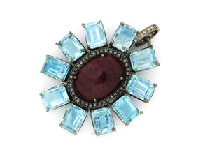 Pave Diamond Ruby and Blue Topaz Pendant, (DRB-7108 ) - Beadspoint
