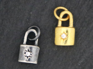 Sterling Silver pad lock charm, (AF-264) - Beadspoint
