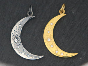Sterling Silver Crescent starry moon w/