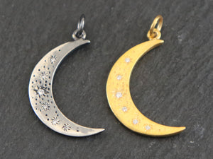 Sterling Silver Crescent starry moon w/ (AF-267)
