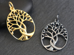 Sterling Silver tree of life charm, (HT-8251) - Beadspoint