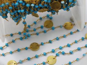 Turquoise w/ Gold Disc Wire Wrapped Rosary Chain, (RS-TUR-189) - Beadspoint