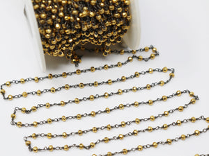 Pyrite Wire Wrapped Rosary Chain, (RS-PYR-190) - Beadspoint