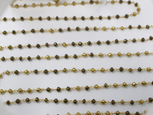 Pyrite Mix Color Wire Wrapped Rosary Chain, (RS-PYR-191) - Beadspoint
