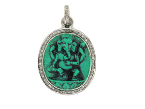 Pave Diamond Turquoise Carved Ganesha Pendant -- DTR-2033 - Beadspoint