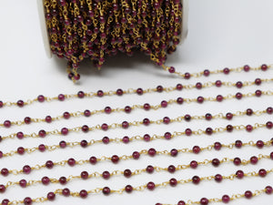 Garnet Smooth Wire Wrapped Rosary Chain, (RS-GAR-192) - Beadspoint
