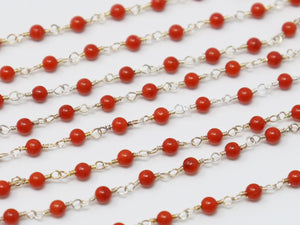Coral Smooth Wire Wrapped Rosary Chain, (RS-CRL-194) - Beadspoint