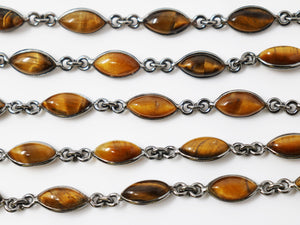 Tiger Eye Marquise Faceted Bezel Chain, (BC-TGR-199) - Beadspoint