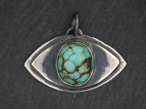 Sterling Silver Artisan Turquoise Evil Eye Pendant, (SP-5331) - Beadspoint