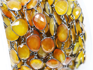Yellow Chalcedony Oval Faceted Bezel Chain, (BC-YCL-210) - Beadspoint