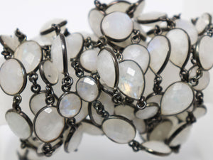Rainbow Moonstone Mixed Shape Faceted Bezel Chain, (BC-RNB-218) - Beadspoint