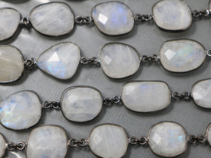 Rainbow Moonstone Oval Faceted Bezel Chain, (BC-RNB-225) - Beadspoint